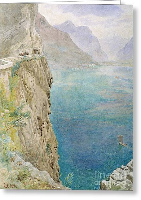 On Paper Paintings Greeting Cards - On the Italian Coast Greeting Card by Harry Goodwin