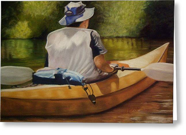 On The Kickapoo Greeting Card by Marcia  Hero