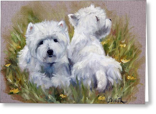 On The Lawn Greeting Card by Mary Sparrow