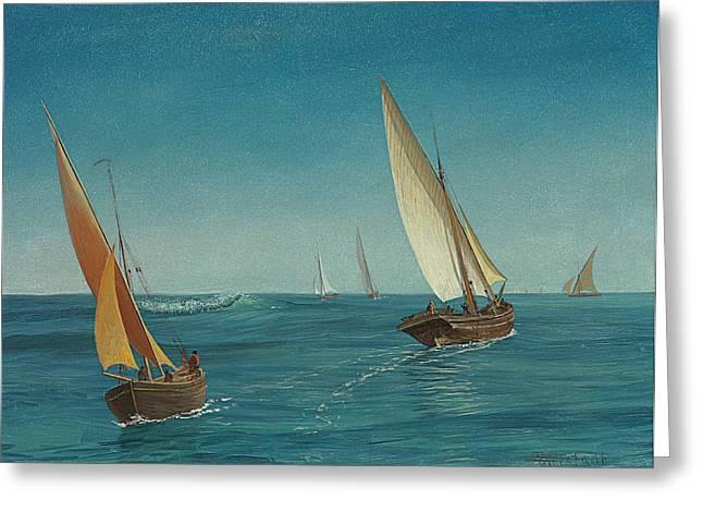 On The Mediterranean  Greeting Card by Albert Bierstadt