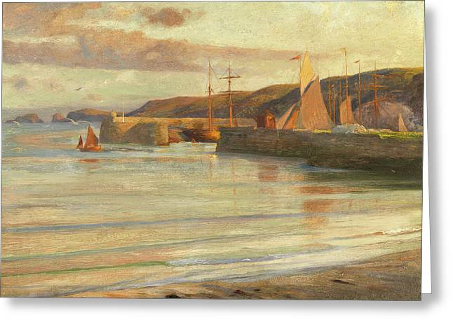 On The North Devon Coast Greeting Card by Frank Dicksee