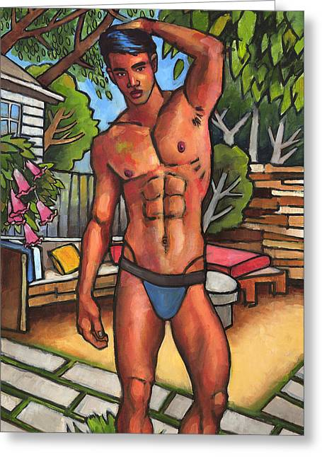 On The Patio Greeting Card by Douglas Simonson