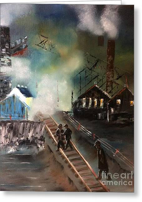 Greeting Card featuring the painting On The Pennsylvania Tracks by Denise Tomasura