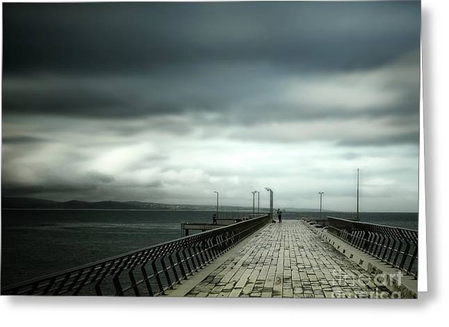 Greeting Card featuring the photograph On The Pier by Perry Webster
