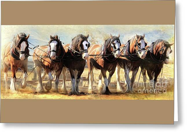 Greeting Card featuring the digital art  On The Plough by Trudi Simmonds