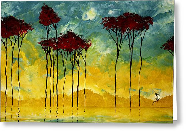On The Pond By Madart Greeting Card by Megan Duncanson