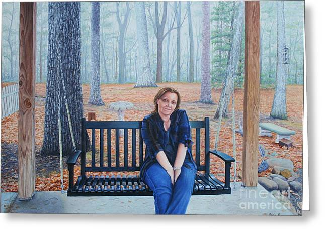 On The Porch Swing Greeting Card by Mike Ivey