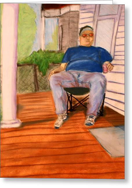 Greeting Card featuring the pastel On The Porch With Uncle Pervy by Jean Haynes