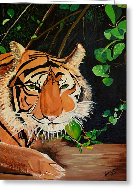 On The Prowl Greeting Card by Donna Blossom