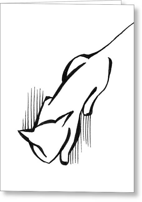 Greeting Card featuring the drawing On The Prowl by Keith A Link
