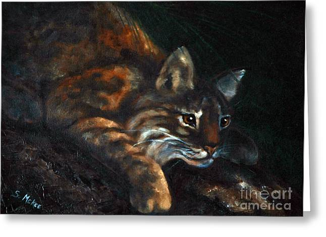 Greeting Card featuring the painting On The Prowl by Suzanne McKee