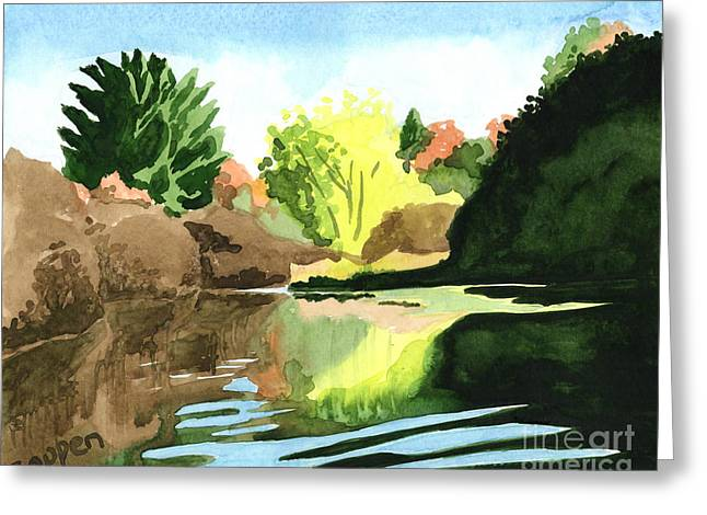 Greeting Card featuring the painting On The River by Robert Coppen