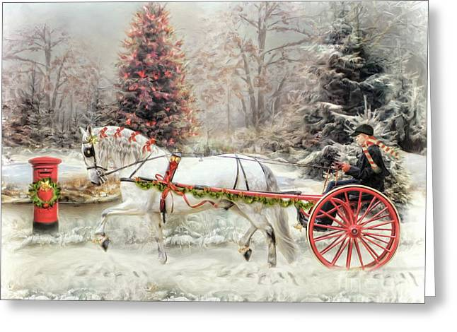 On The Road To Christmas Greeting Card by Trudi Simmonds