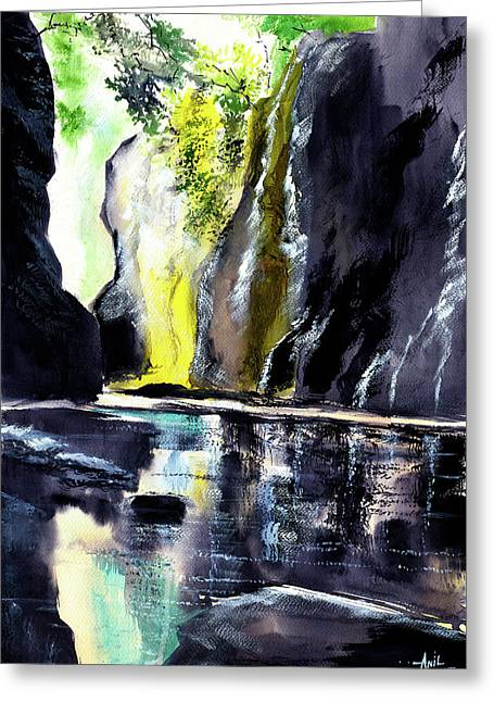 On The Rocks Greeting Card by Anil Nene