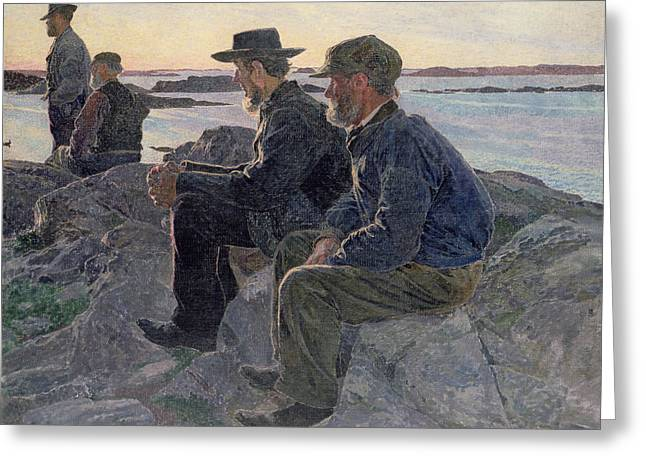 On The Rocks At Fiskebackskil Greeting Card by Carl Wilhelm Wilhelmson