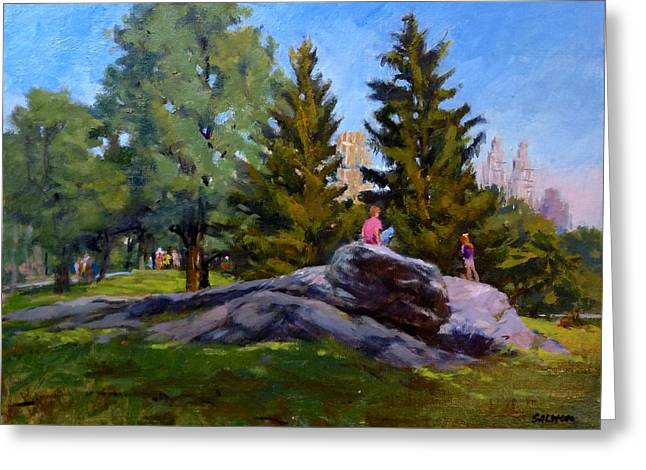 On The Rocks In Central Park Greeting Card by Peter Salwen