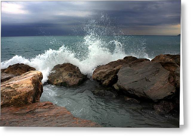 On The Rocks Greeting Card by Martina  Rathgens