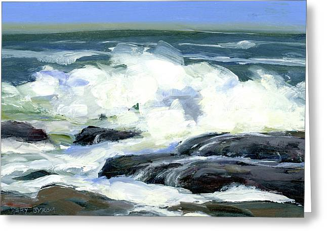 On The Rocks Greeting Card by Mary Byrom