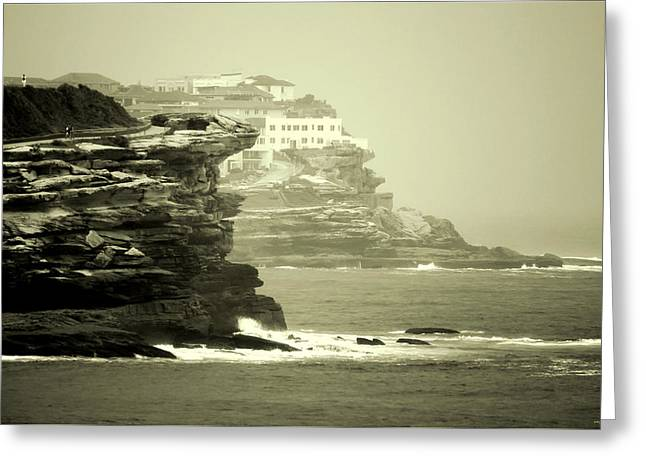 On The Rugged Cliffs Greeting Card by Holly Kempe