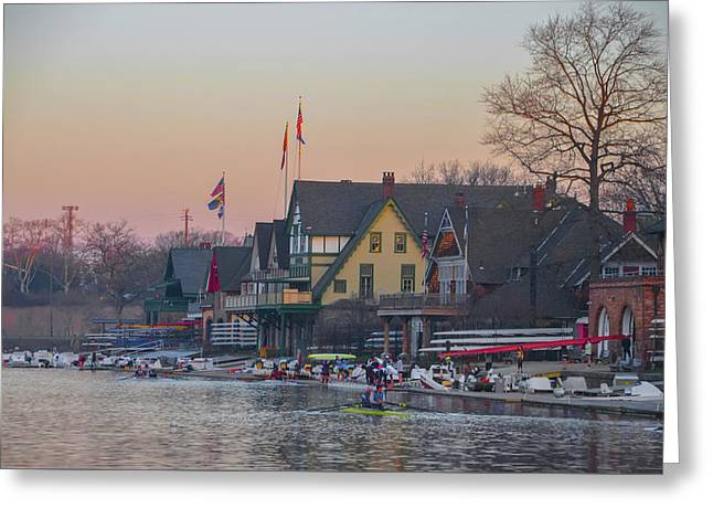 On The Schuylkill River At Boathouse Row Philadelphia Greeting Card by Bill Cannon