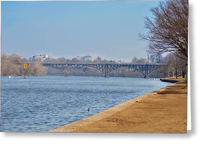On The Schuylkill River - Strawberry Mansion Bridge Greeting Card by Bill Cannon