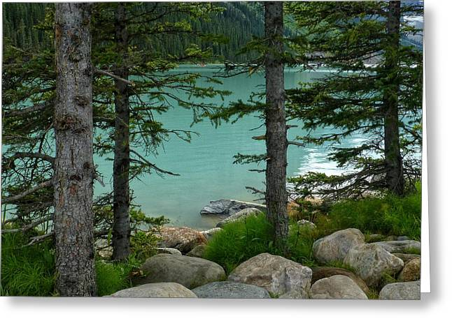 On The Shore Of Lake Louise Greeting Card
