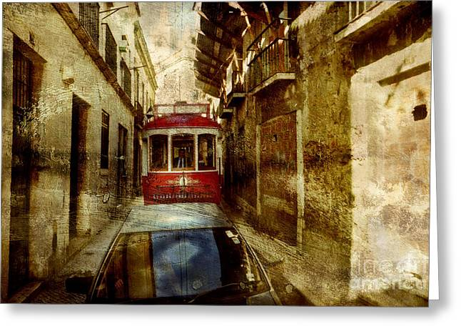 On The Streets Of Lisbon Greeting Card by Dariusz Gudowicz