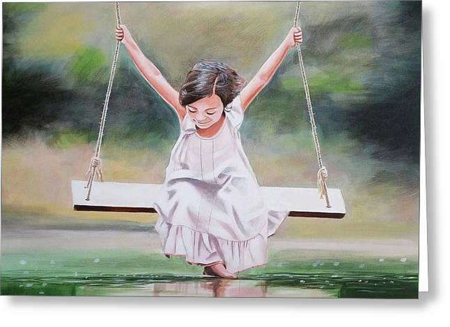 On The Swing Greeting Card
