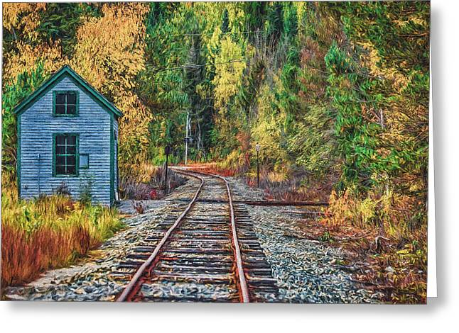 On The Tracks Painted Greeting Card by Black Brook Photography