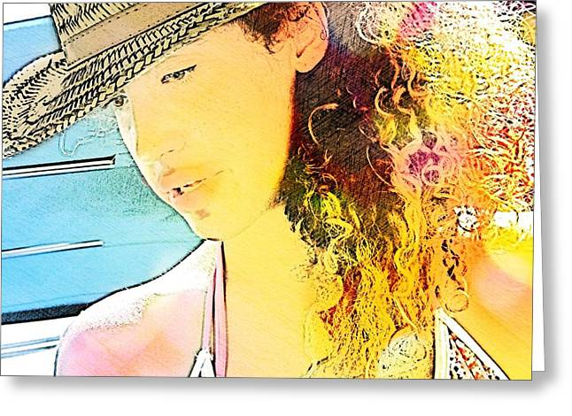 Sun Hat Greeting Cards - On the Water Greeting Card by Cindy Edwards