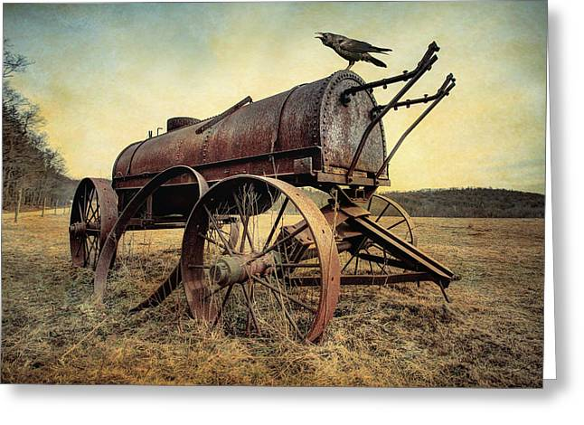 Greeting Card featuring the photograph On The Water Wagon - Agricultural Relic by Gary Heller