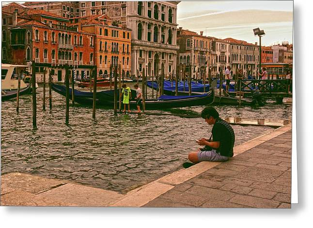 Greeting Card featuring the photograph On The Waterfront by Anne Kotan