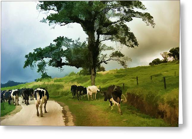 Greeting Card featuring the painting On The Way Home  by Elaine Manley
