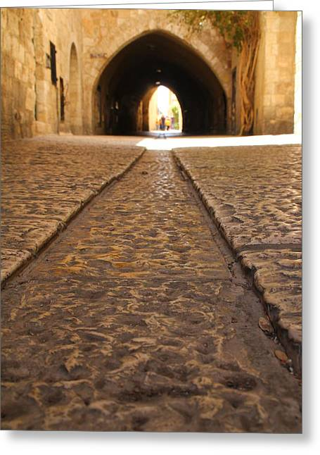Greeting Card featuring the photograph On The Way To The Western Wall - The Kotel - Old City, Jerusalem, Israel by Yoel Koskas
