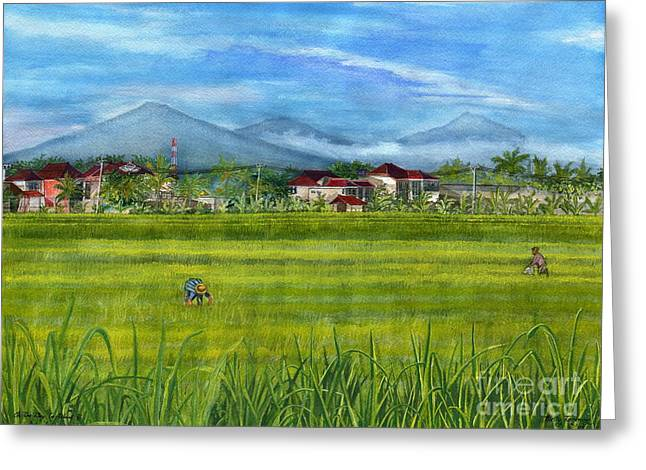 Greeting Card featuring the painting On The Way To Ubud 3 Bali Indonesia by Melly Terpening