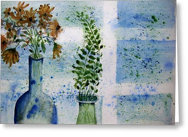 On The Windowledge Greeting Card by Audrey Bunchkowski