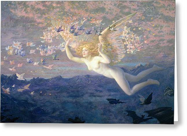 Flying Angel Greeting Cards - On the Wings of the Morning Greeting Card by Edward Robert Hughes