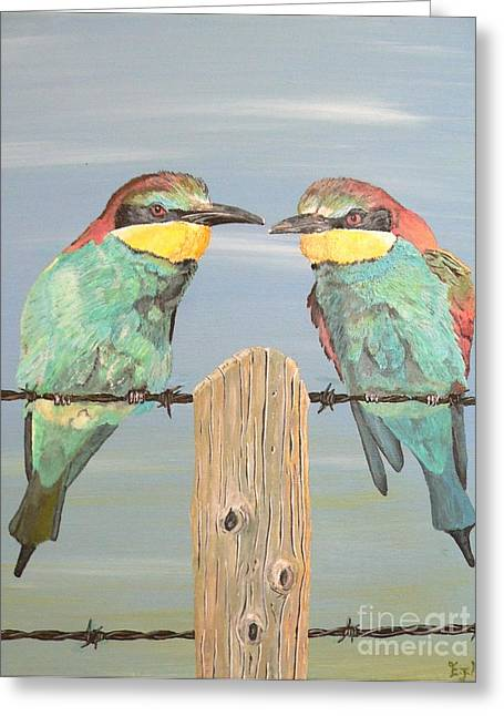 Greeting Card featuring the painting On The Wire Bee-eaters by Eric Kempson