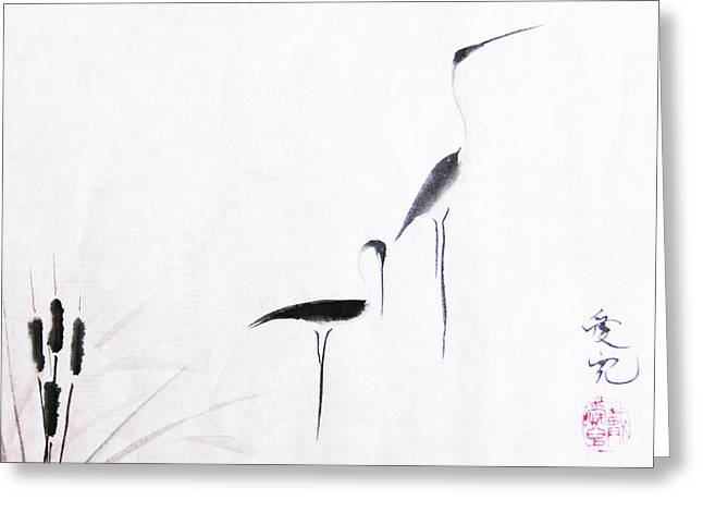 Inkwash Greeting Cards - On Typha Pond Greeting Card by Oiyee  At Oystudio