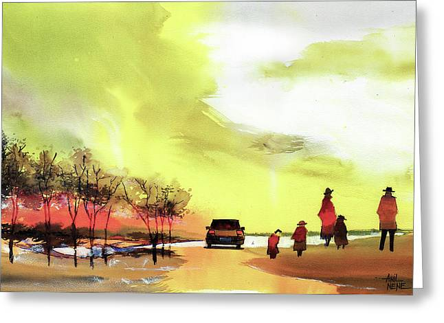 Greeting Card featuring the painting On Vacation by Anil Nene