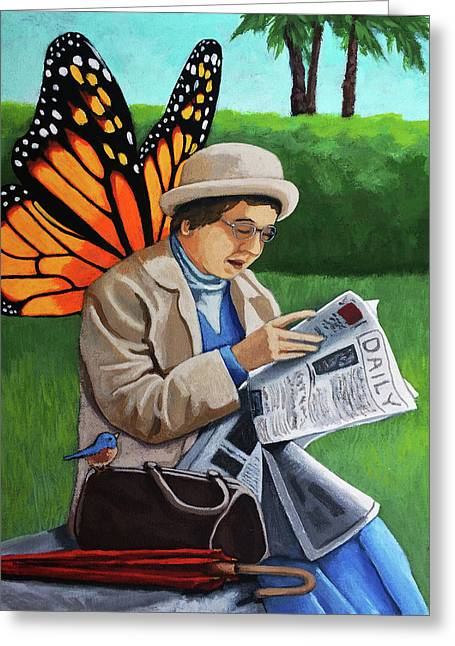 On Vacation -butterfly Angel Painting Greeting Card by Linda Apple
