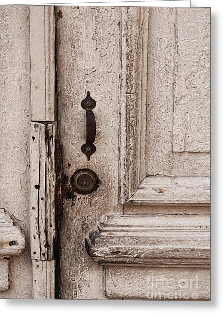 Once A White Door Greeting Card by Ana V Ramirez