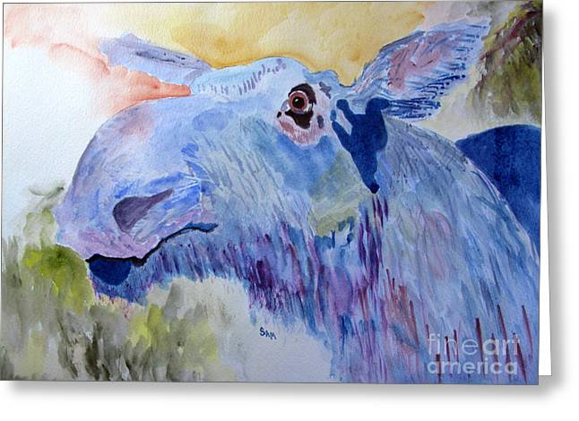 Once In A Blue Moose Greeting Card