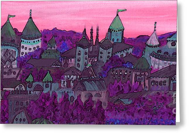 Once Upon A Land In A Time Far Away Pink By Jrr Greeting Card by First Star Art
