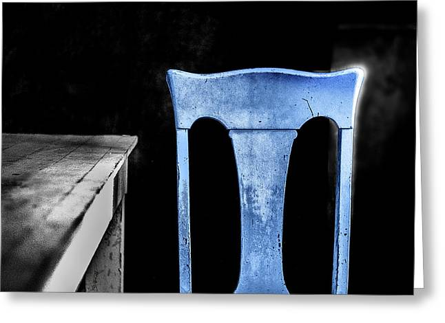 Greeting Card featuring the photograph One Blue Bodie Chair by Craig J Satterlee
