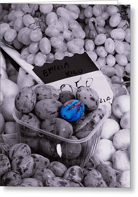 One Blue Plum Greeting Card by Michael Henderson