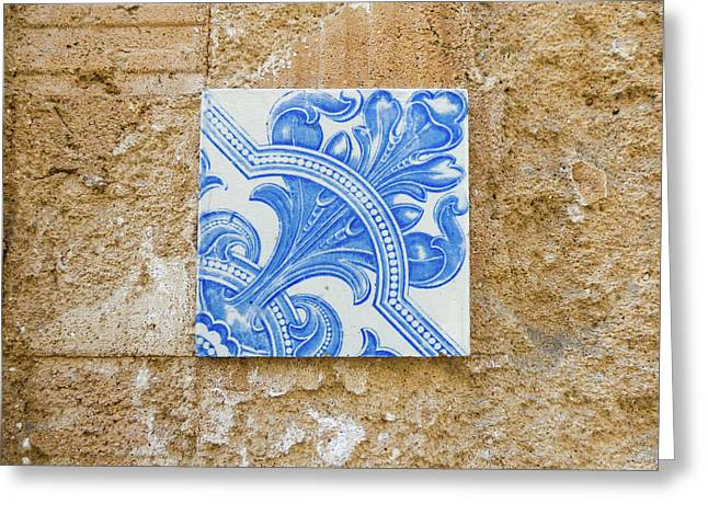 One Blue Vintage Tile  Greeting Card