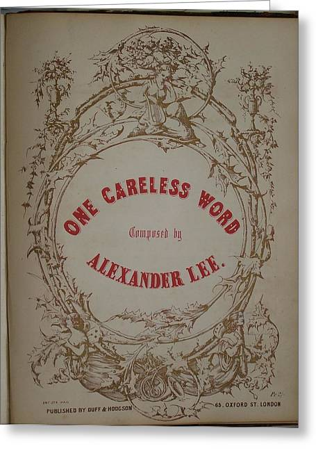 One Careless Word Sheet Music Cover Art  Greeting Card by Jake Hartz