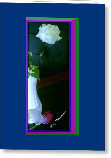 One Carnation And One Rose Bud Greeting Card