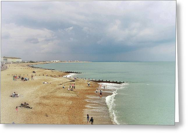One Cool Beach Day  Greeting Card by Connie Handscomb
